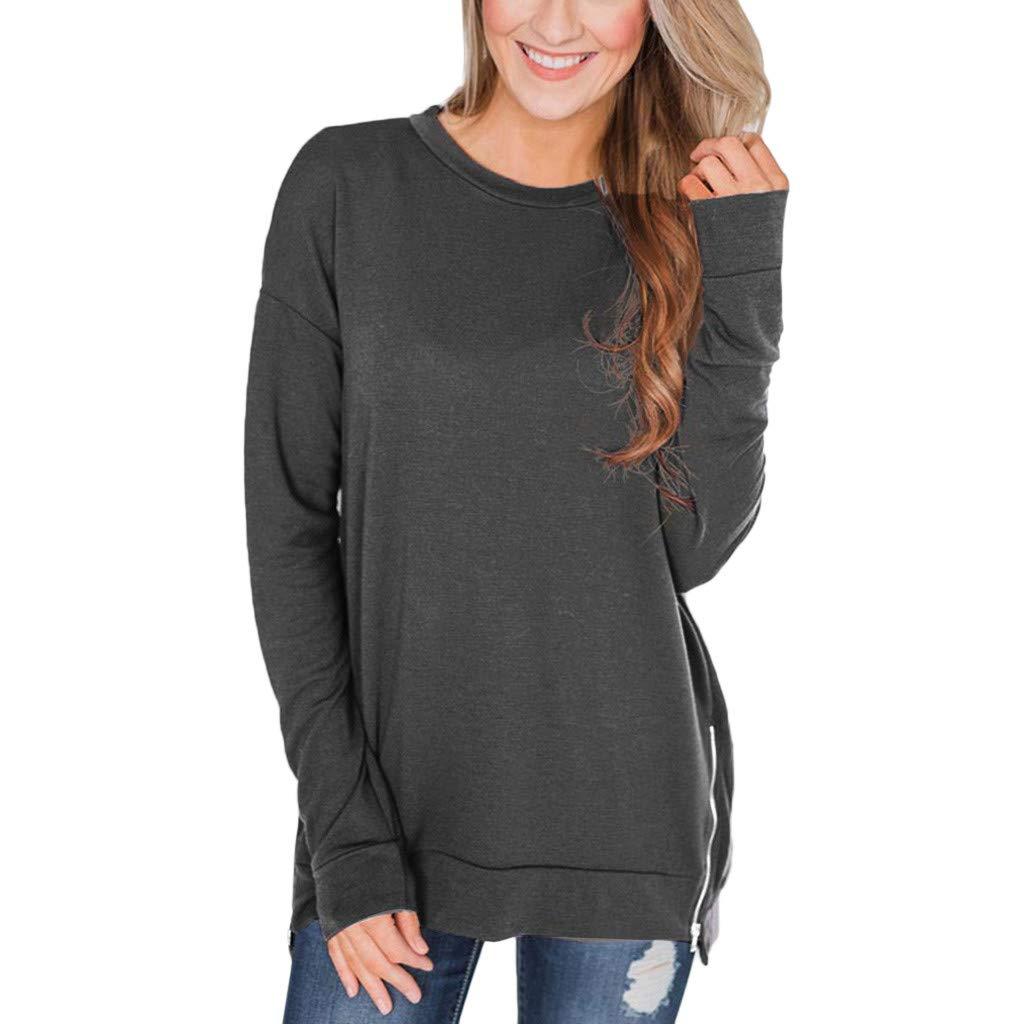 WUAI-Women Loose Shirts Crew Neck Long Sleeve Zipper Tunic Sweatshirt Solid Pullover Tops(Grey,XX-Large)