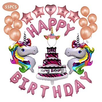 JUSTIDEA 55 Pcs Birthday Balloons Unicorn Decorations Kit Foil Banner