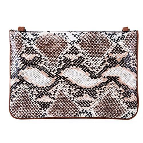 Brown Snakeskin Purse - Kennedy Fashion Personalit Snakeskin Pattern Shoulder Bag PU Leather Bag With Removable Shoulder Strap Purse Handbag