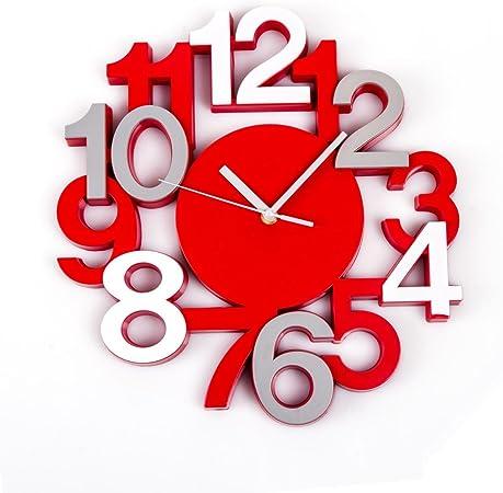 Horloge Pendule Murale Silencieuse Look Moderne Coloris Rouge