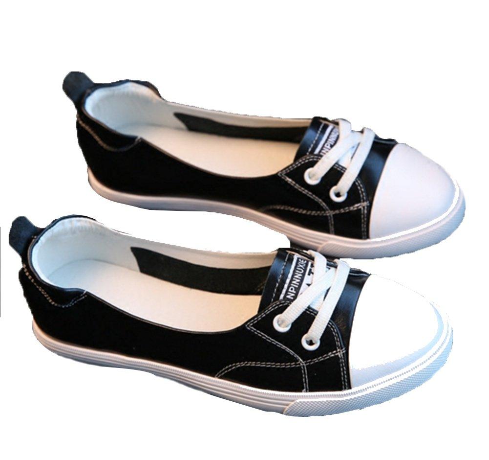 XIE Boca Baja de Cuero Zapatos Blancos Pequeños Femeninos de Verano de Fondo Plano Viajes de Ocio de Conducción Mujeres Embarazadas Estudiantes Zapatos 34-39, Black, 34 34|black