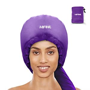 Bonnet Hood Hair Dryer Attachment - Adjustable Extra Large Bonnet Hair Dryer for Hand Held Hair Dryer with Stretchable Grip and Extended Hose Length (Purple)