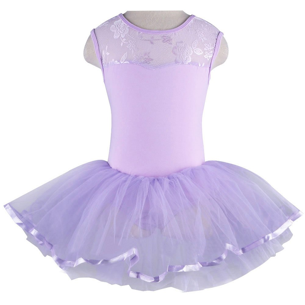TFJH E Kids Little Girls Ballet Flower Lace Sleeveless Dress Leotard Tutus