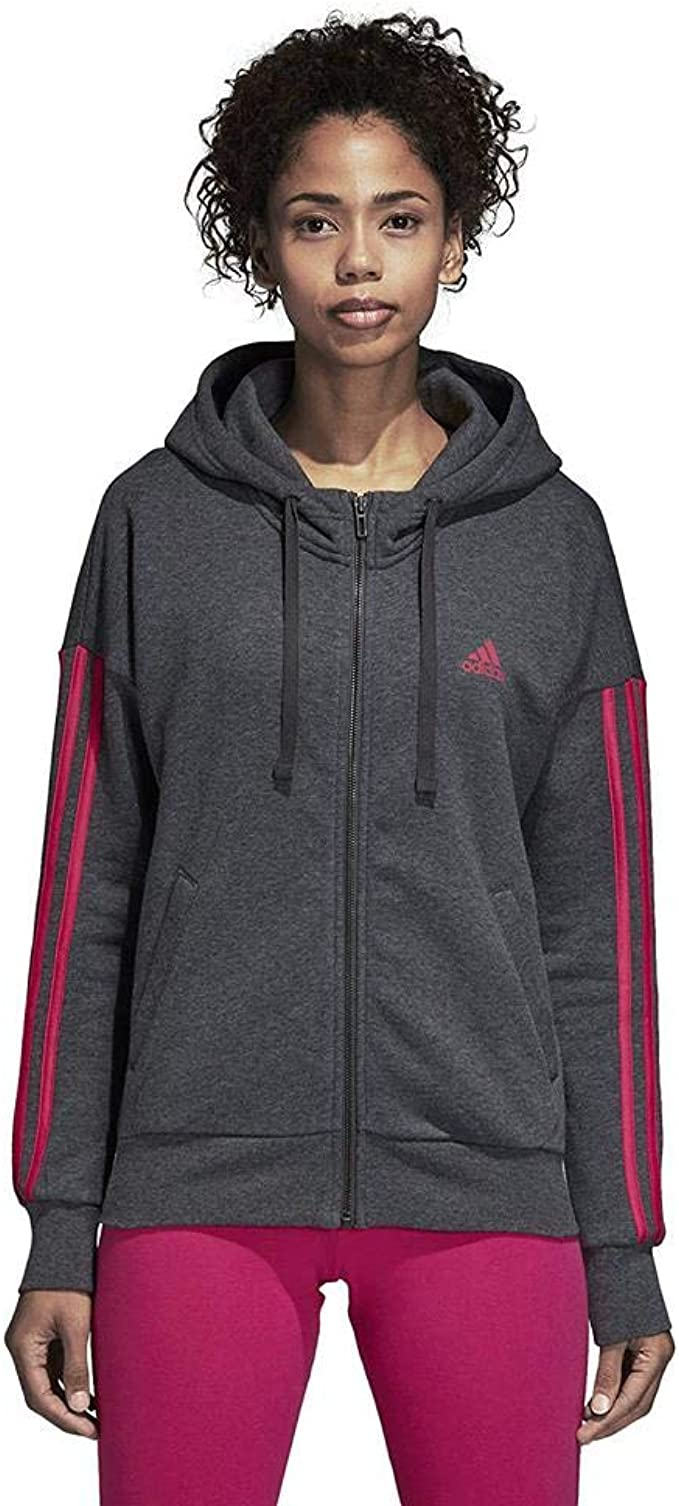 adidas Damen Essentials 3 Stripes Full Zip Hooded Kapuzen-Jacke