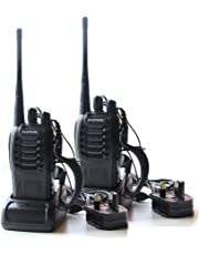 CDC® 2PCS Walkie Talkies 16CH Signal Band UHF 400-470 MHz BF-888S 5W 1500MAH Li-ion Battery Two Way Radio Rechargeable Long Range Headset Headphone Built in LED Torch With UK Plug