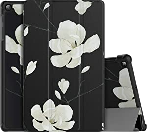 MoKo Case Fit Samsung Galaxy Tab A 10.1 2019 T510 T515 T517,Ultra Lightweight Slim Smart Hard Shell Stand Cover Folio Case for Galaxy Tab A 10.1 inch SM-T510/SM-T515 2019 Tablet - Black&White Magnolia