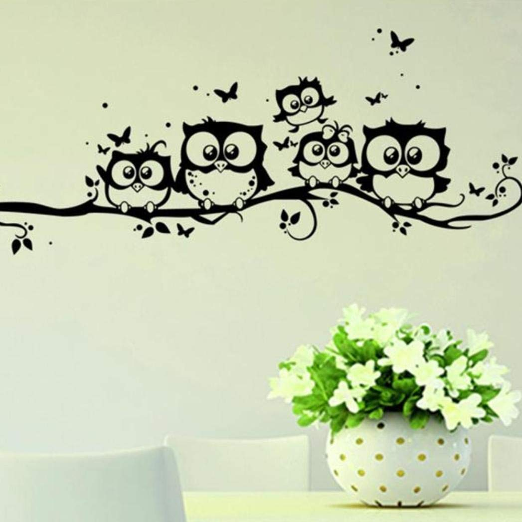 Happy Halloween Cartoon Owl Print Wall Sticker Party Mural DIY Removable Wall Decal for Household Room Living Room Bedroom Kids Room Background