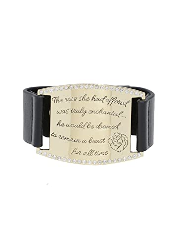 Disney Beauty And The Beast Enchanted Rose Quote Bracelet Cuff With