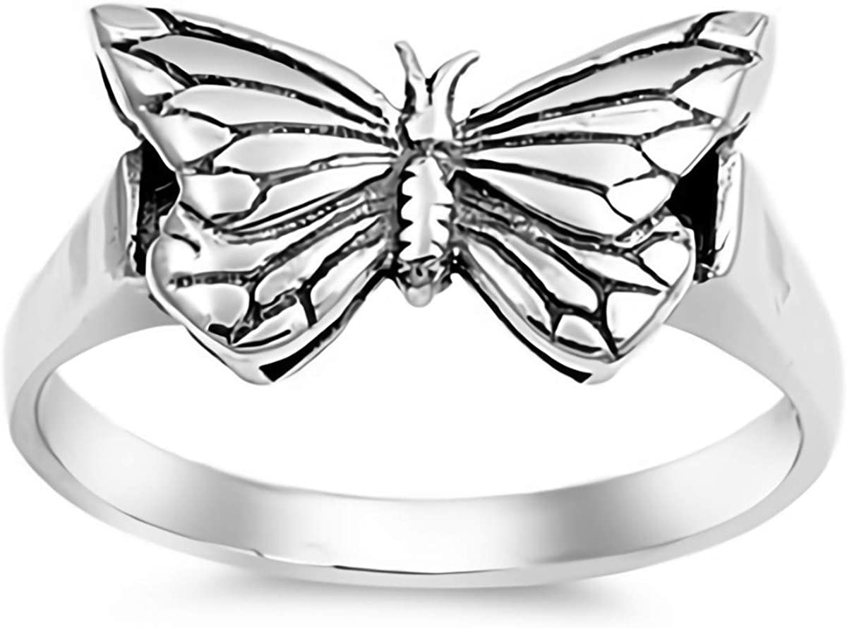Cute Jewelry Gift for Women in Gift Box Glitzs Jewels 925 Sterling Silver Ring Dragonfly, Rose Gold Tone