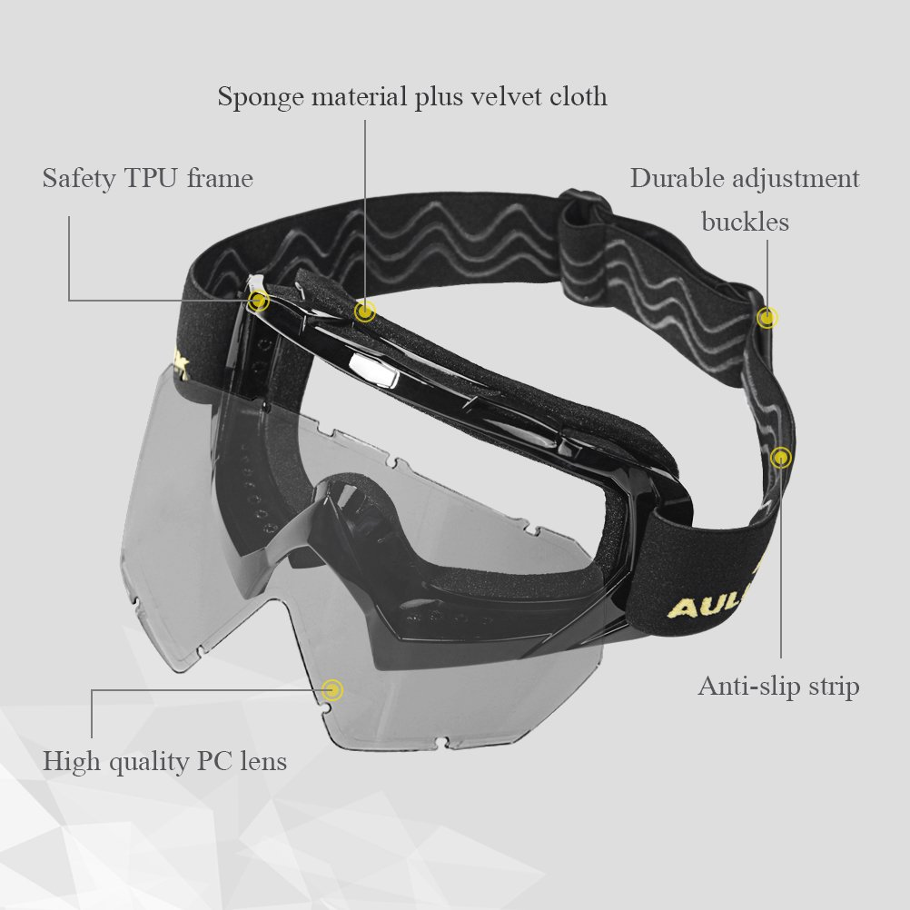 AULLY PARK Motorcycle Goggles, Dirt Bike Goggles Grip For Helmet, ATV Motocross Mx Goggles Glasses with 3 Lens Kit Fit for Men Women Youth Kids by AULLY PARK (Image #2)