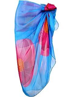 e0607c0095 Ayliss Womens Swimwear Chiffon Printed Cover up Beach Sarong Pareo Bikini  Swimsuit Wrap