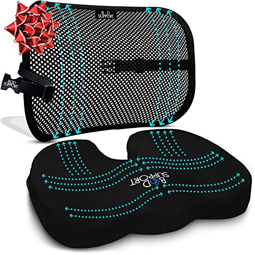 Back Support Seat Cushion Set - Memory Foam With Orthopedic Design To Relieve Coccyx, Sciatica And Tailbone Pain From Prolonged Sitting In The Car, Office Or Kitchen Chairs - Mesh Breathable Material (Chair Lots Cushions Outdoor Big At)