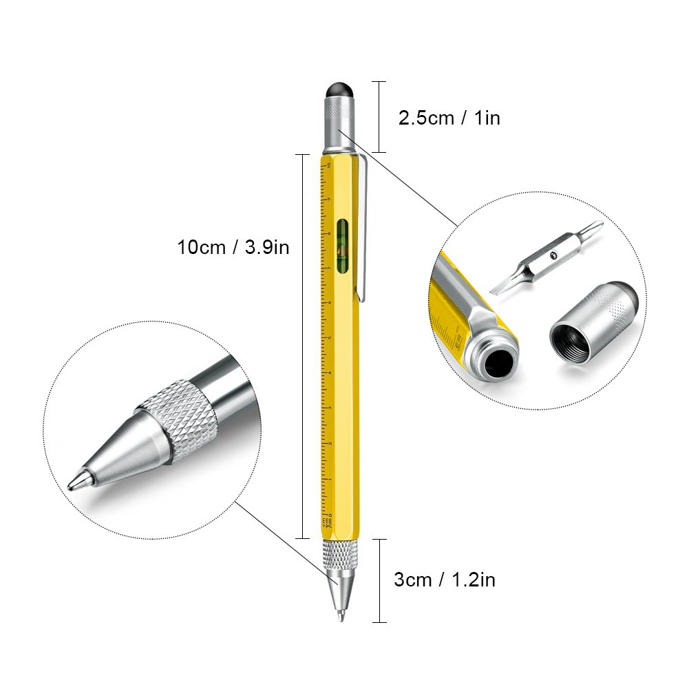 Useful Gadgets for Men, Multi Tool Pens for Men Gifts, Touch Screen Stylus Pen, Ballpoint Pen with Scale Ruler, Spirit Level, Small Screwdriver Set (Flat-Head and Phillips Screwdriver), 4 The Pen Refi