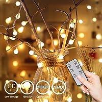 Guirnalda Luces 15 m 100 LEDs, Cadena de Luces Blanco Cálido 8 modos, IP44 Impermeable, Decoracion para Navidad, Festivales, Bodas, Cobertizos, Patios, Jardines, Pérgolas