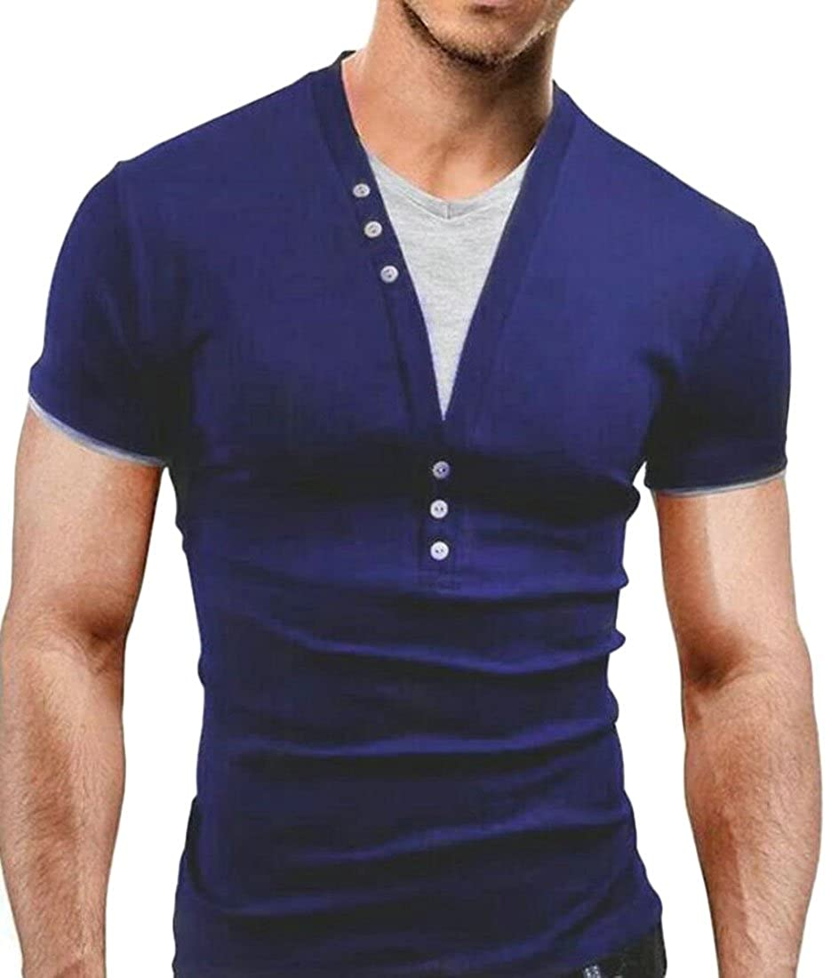 S-Fly Mens Short Sleeve Skinny Contrast Leisure Henley Color Buttons T-Shirt