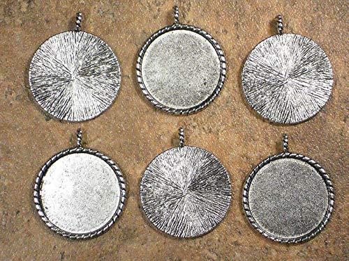(Pendant Jewelry Making 6 Round Bezel Pendants Antiqued Tibetan Silver Tone Mountings Trays)