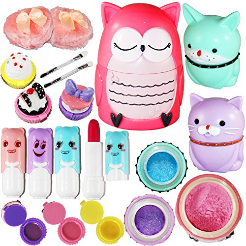 Joyin Toy All-in-one Girls Makeup Kit Including 4 Lip Balms, 3 Lip Gloss, 2 Shimmer Powders/Eyeshadow, and 1 Large Blush. -