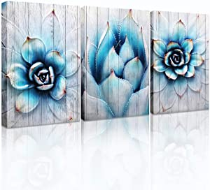 Canvas Wall Art for living room family bedroom Wall Decor modern wall decorations for kitchen Canvas art cactus blue flowers wall pictures Artwork 12
