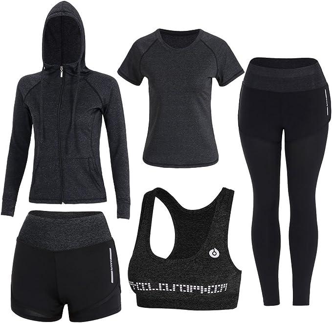 ZETIY Women's 5pcs Sport Suits Fitness Yoga Running Athletic Tracksuits at  Amazon Women's Clothing store