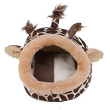 Ouken Pet Cama de Lana con Patrones Coloridos Lindo Antideslizante Caliente Lavable para pequeño Cachorro Medio durmiendo casa iglú-Grande (Jirafa): ...