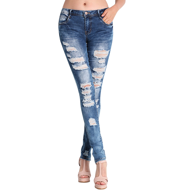 CHNS Lady's Long Stretch Tight Damege Jeans Slim Fit Warm Winter High Waist Denim Jeans Pants Blue