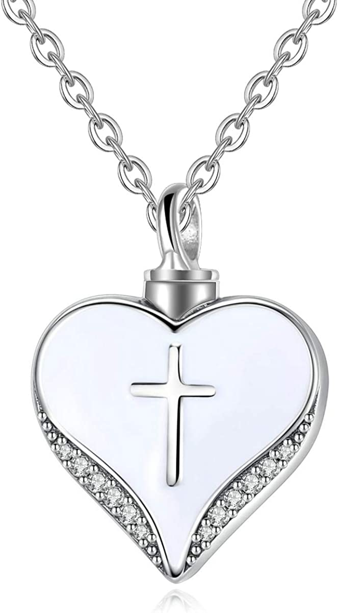 EUDORA Personalized Sterling Silver Memorial Cremation Urn Necklace for Ashes, Heart Shape with Holy Cross Keepsake Jewelry for Women Man, 20 inches Chain