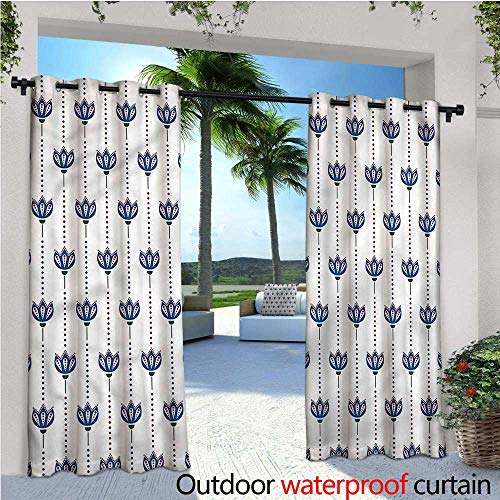 (warmfamily Asian Exterior/Outside Curtains Ethnic Tulip Flowers for Patio Light Block Heat Out Water Proof Drape W84 x L108)