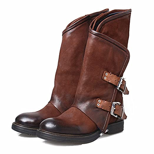 Womens Leather Round Toe Buckles Zipper Knight Mid Calf Boots Shoes (US 6)