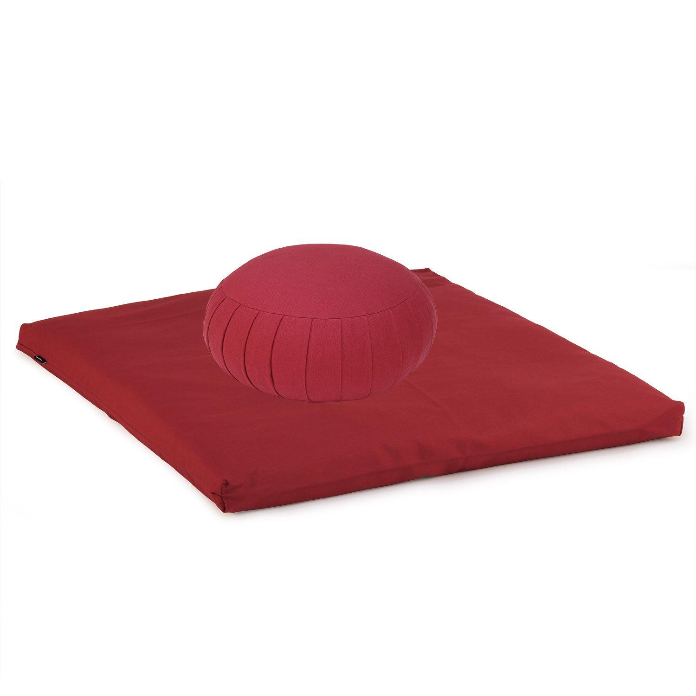 Medi-Set Basic I: Meditationskissen ZAFU BASIC (Kapok) und Meditationsmatte ZABUTON BASIC, Meditationsset, Meditationszubehör, Meditationsunterlage 80 x 80cm, wein-rot