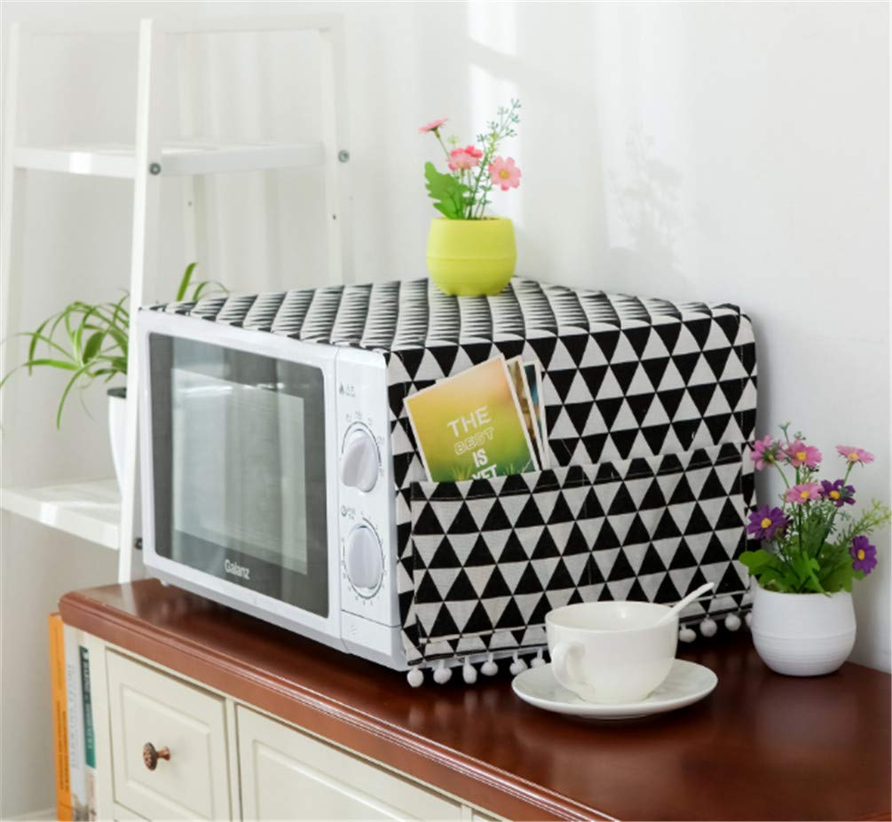 Mvchif Microwave Oven Cover Dustproof Cotton Machine Protector Decorative Kitchen Appliance Cover with Side Storage Pockets 11.8x35.4inches (Black Triangle)