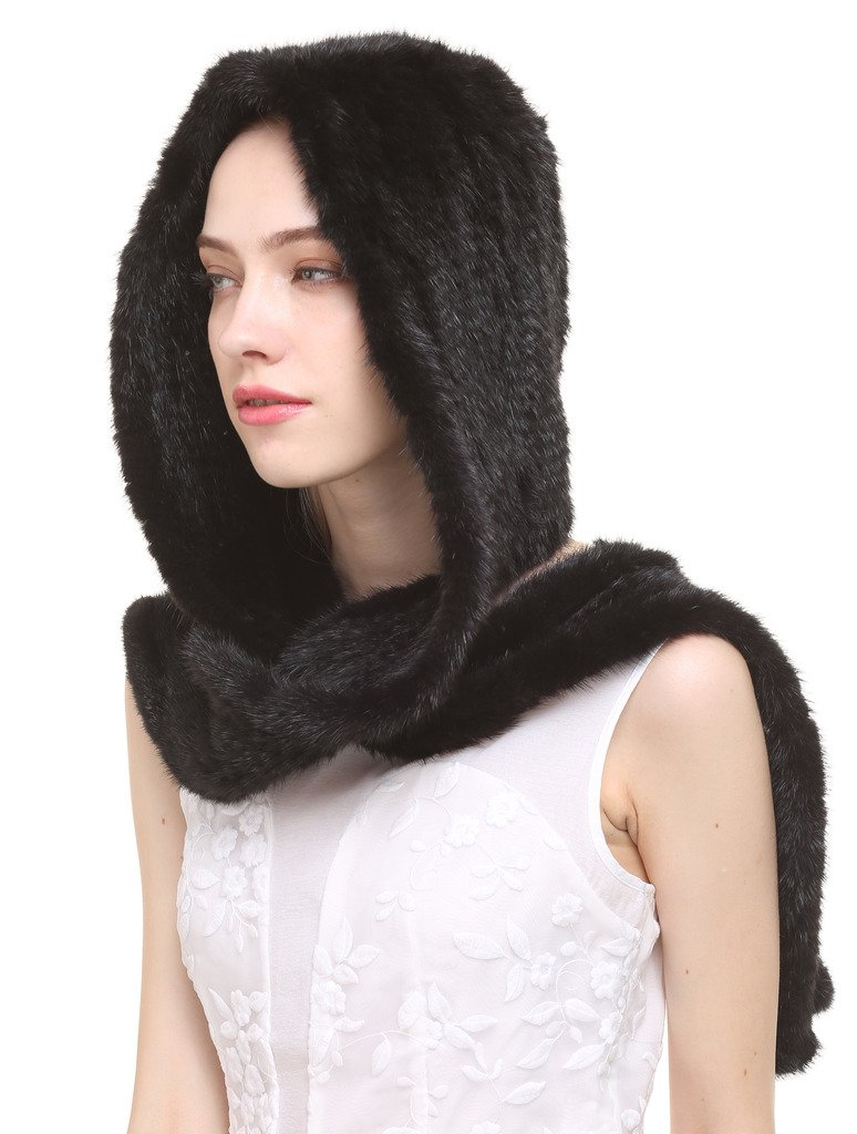 Vogueearth Women'Real Knitted Mink Fur Winter Warmer Scarf Hat Black