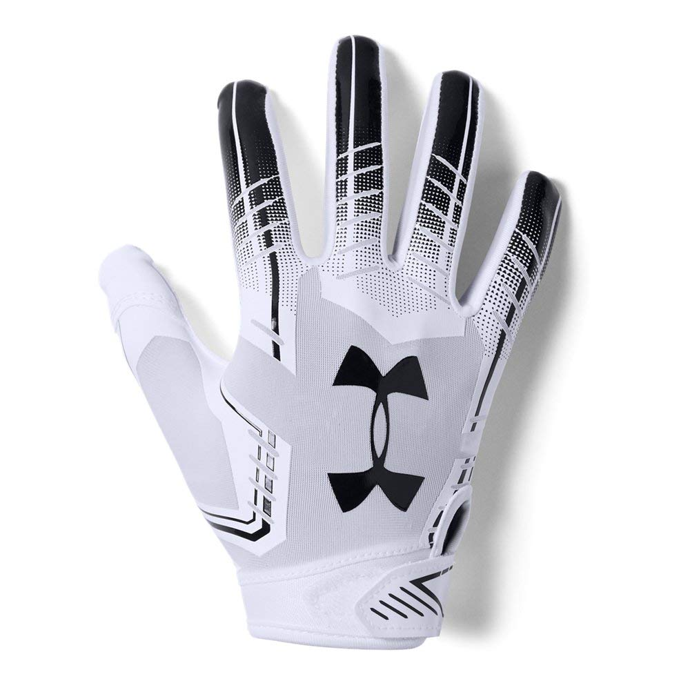 Under Armour Boys' F6 Youth Football Gloves, White (101)/Black, Youth Small