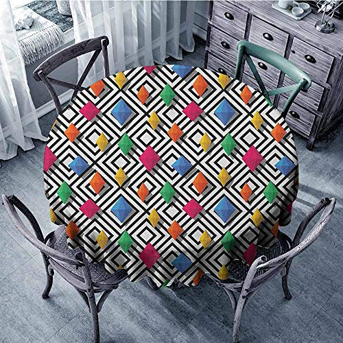 ScottDecor Reusable Round Tablecloth Circular Table Cover Geometric,Lively Colored and 3D Styled Diamond Gemstone Figures on Black and White Backdrop, Multicolor Diameter 36