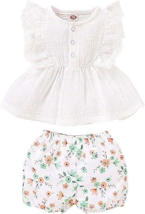 Borlai Camisa con Volantes para Niña Pequeña Y Bebé + Conjunto de Pantalón Corto Floral para Niñas de 3 Meses a 3 Años: Amazon.es: Bebé