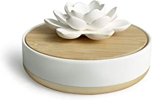 Sunlit Lotus Non-Electric Ceramic Aroma Diffusers for Essential Oils and Aromatherapy Fragrance, Small Essential Oil Scent Diffuser for Home or Office, Spiritual and Zen, Porcelain 150ml Reservoir