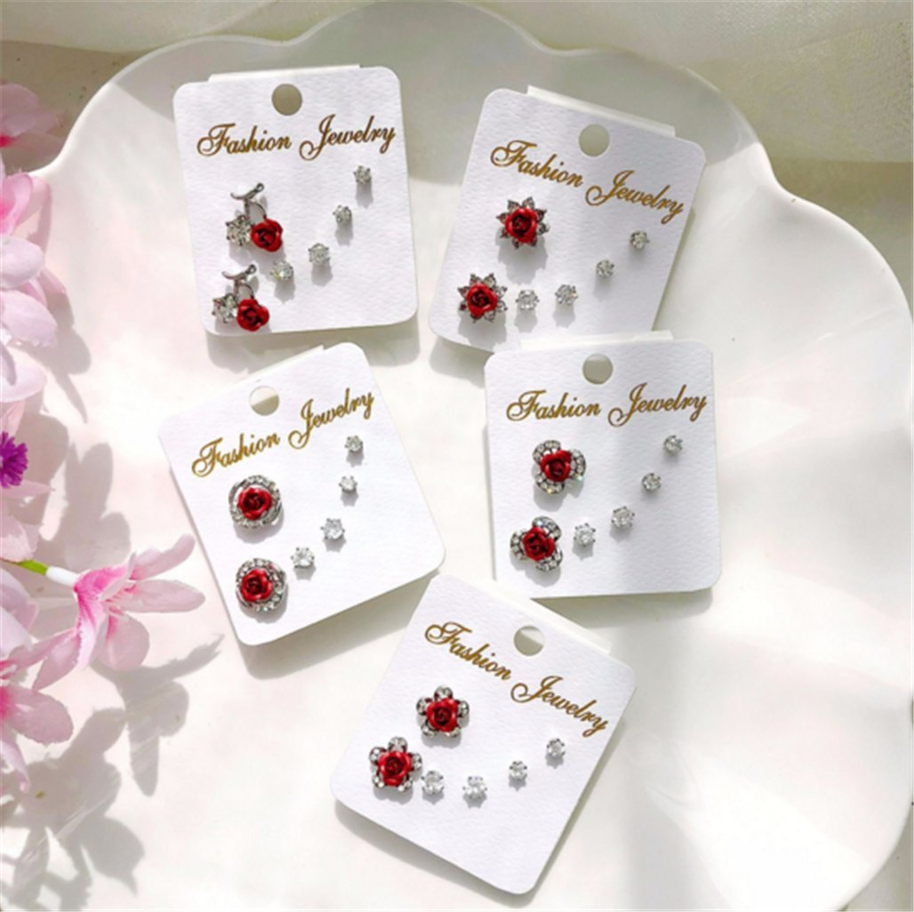 Three-Piece Fashion Rose Earrings Hypoallergenic Zircon Simple Female Ear Jewelry,A-3 by PG-kisseller (Image #1)