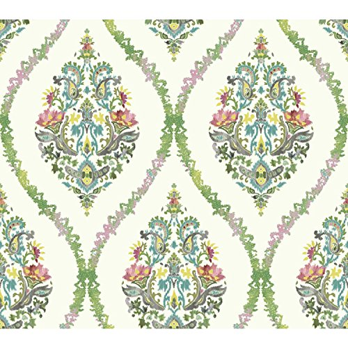 (York Wallcoverings Waverly Garden Party Damask Removable Wallpaper, Greens)