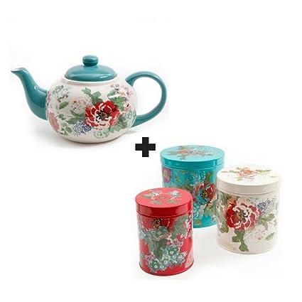 Amazon Com The Pioneer Woman Country Garden Teapot Bundled