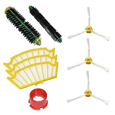 De haute qualité 1 brosse à poils souples et 1 Beater Brush & 3 3 armés Seitenbesen & 3 Filtres & Brosse Tool Pack Mega Kit pour iRobot Roomba 500 Series Roomba 510, 530, 535, 540, 560, 570, 5
