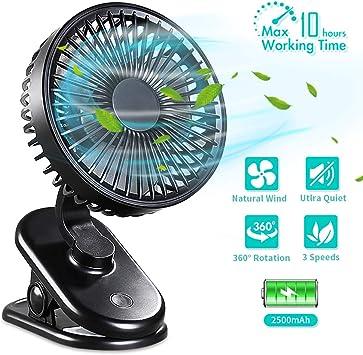 DIAOCARE Ventilador USB, Mini Ventilador de Mesa silencioso con Batería Recargable de 2800 mAh, 3 Velocidades Ajustables, Rotación de 360 °para Cochecitos Dormitorio Biblioteca(Negro): Amazon.es: Electrónica