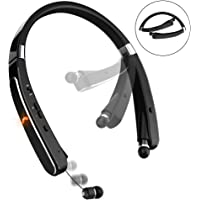 Bluetooth Headset, Bluetooth Headphones-LBell 30 Hrs Playtime Wireless Neckband Design W/Foldable Retractable Headset for Cellphones Like iPhone X/ 8/7 Plus Samsung Galaxy S9 Note 8 (Black)