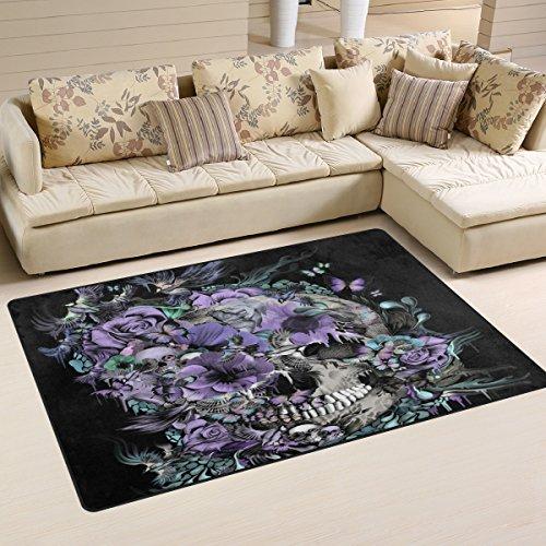 LORVIES Skull And Birds Area Rug Carpet Non-Slip Floor Mat Doormats for Living Room Bedroom 60 x 39 inches (Bird Skull)