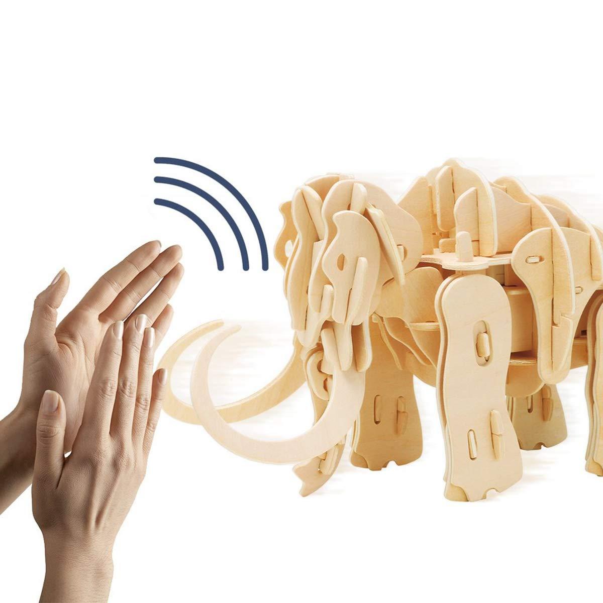 HXZB 3D Wooden Puzzle, Teen Puzzle Educational Toy Sound Control Robot Mammoth B07L2QS922 3D-Puzzles Glücklicher Startpunkt   | Verbraucher zuerst