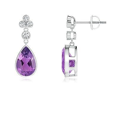 Angara Bezel Drop Amethyst and Diamond Earrings in Platinum qmJCkPNXjU
