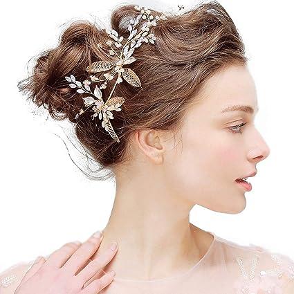 Amazon Com Pearl Rhinestone Hair Strap With Bridal Headband
