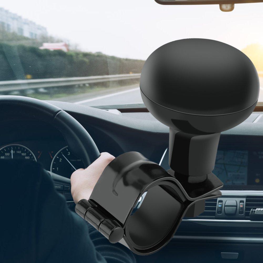 Instalaci/ón f/ácil No se requieren herramientas Keenso Bola de direcci/ón universal Bola de la direcci/ón del volante resistente Negro Perilla del volante del coche