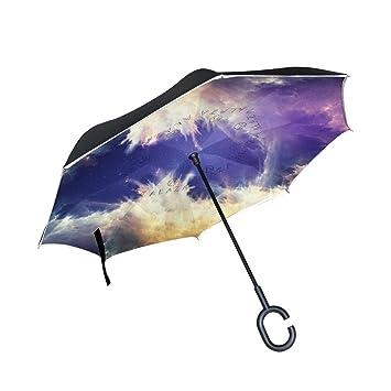 DragonSwordlinsu Cosmic Sky - Paraguas invertido de Doble Capa para Coche y Exterior, Resistente al