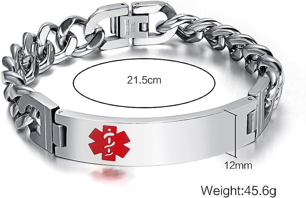 VNOX Custom Free Engraving Vintage Stainless Steel ID Tag Link Bracelet for Men Women,8