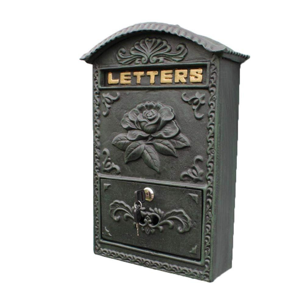 TINGTING 郵便受けア メールボックス ロック付き 牡丹の花は幸運金属を象徴します。 (色 : 緑, サイズ さいず : 24.5*8.2*34.5cm) 24.5*8.2*34.5cm 緑 B07RJP914Y