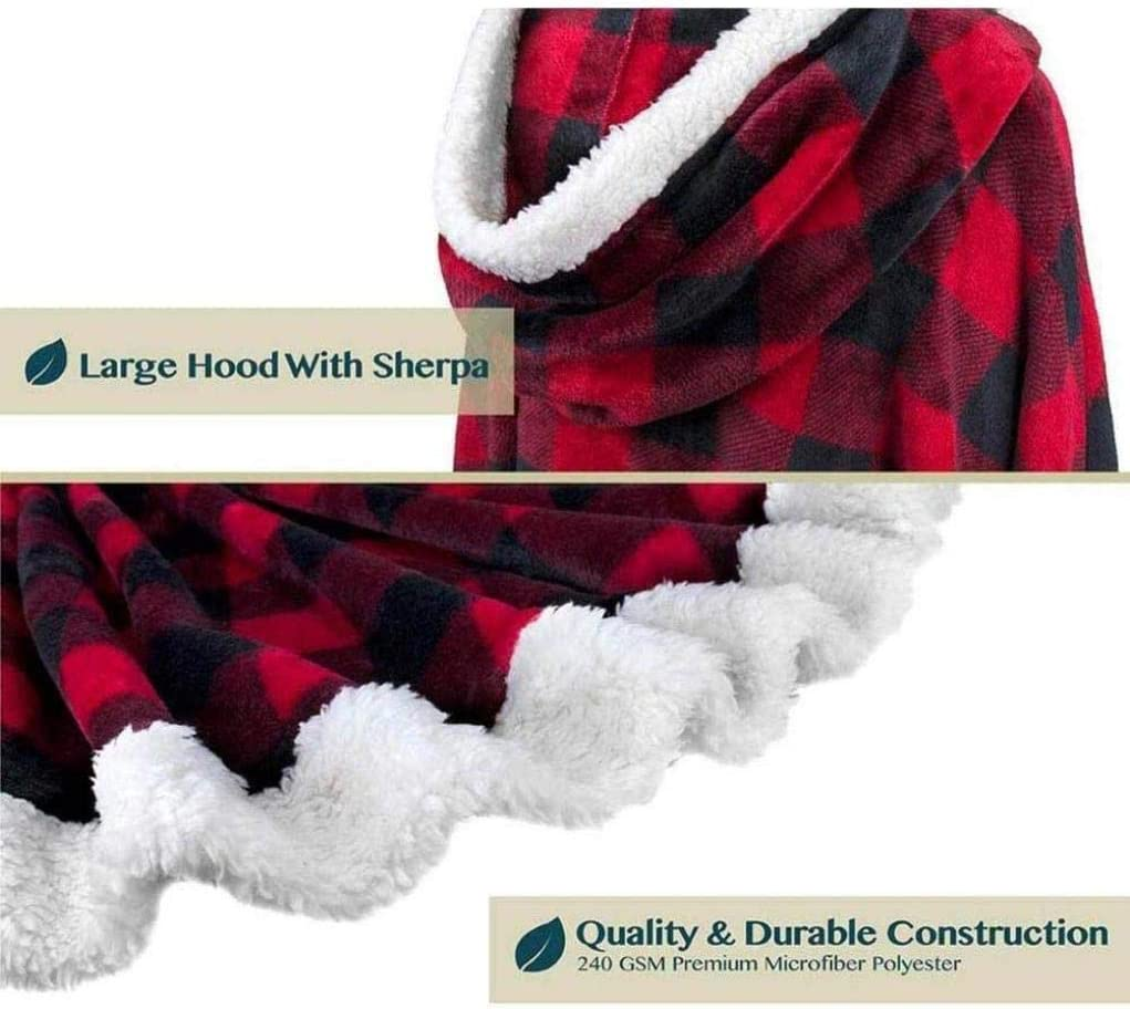 SHJMANPA Lose Bequeme Kapuze Cape Casual Lazy Blanket Doppeltasche Soft Plüsch Cape Comfy Oversized Hoodie Sweatshirt Decke, Red Black Lattice Red Black Lattice